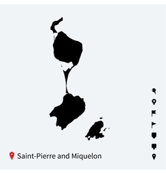High detailed map of Saint-Pierre and Miquelon vector
