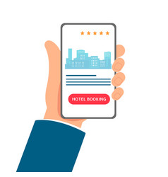hotel booking app - cartoon hand holding a phone vector image