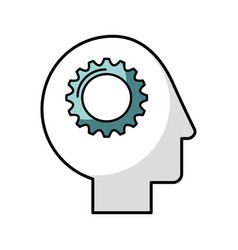 human head profile with gear vector image