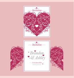 Laser cutout of wedding invitation or greeting vector