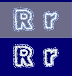letter r on grey and blue background vector image
