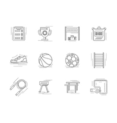Linear icons set for physical education vector image vector image