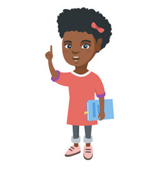 Little african schoolgirl pointing forefinger up vector