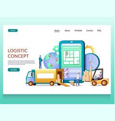 logistics concept website landing page vector image