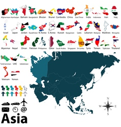 Maps with flags of Asia vector image