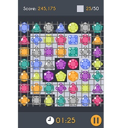 Match3 gems puzzle game screen vector