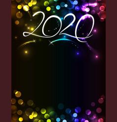new year 2020 bright multi-colored invitation vector image