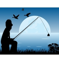 Night fishing vector image
