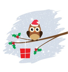 Owl santa hat card snow vector