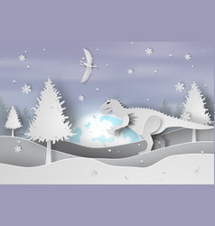 Paper art of lanscape snow with dinosaur vector