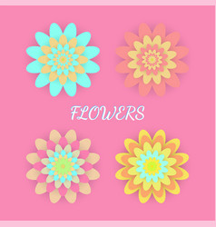 Paper colored flowers set vector