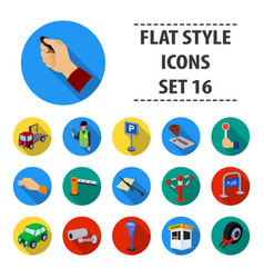 parking zone set icons in flat style big vector image