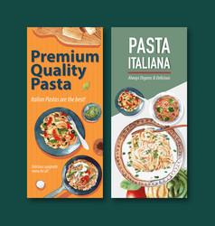 Pasta flyer design with various watercolor vector