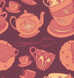 Pattern with teapots teacups vector