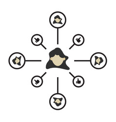 Person connection icon partnership network sign vector