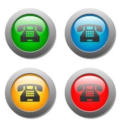 Phone icon glass button set vector