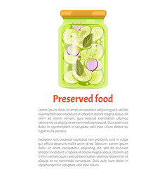 Preserved food cucumber onion vector