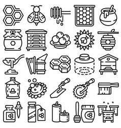 propolis icons set outline style vector image