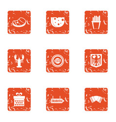 Provision icons set grunge style vector