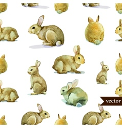 rabbit hare pattern watercolor vector image