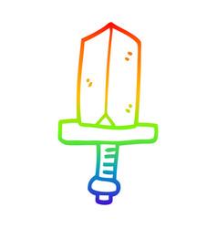 rainbow gradient line drawing cartoon gold dagger vector image