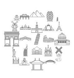 Recreation area icons set outline style vector