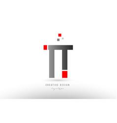 Red grey alphabet letter tt t t logo combination vector