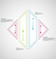 Rhombus shape infographic created from four color vector