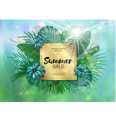 Sale square summer sale tropical leaves frame vector