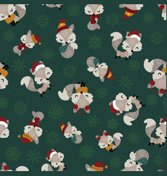 seamless pattern with cute little foxes on green vector image