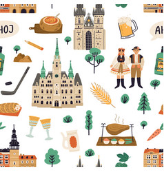 Seamless pattern with national symbols czech vector
