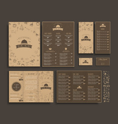 Set of a4 menu folding brochures and flyers vector