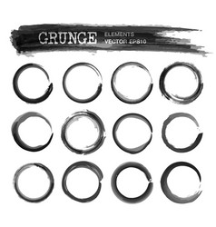 set of grunge realistic black color ink vector image