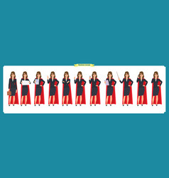 Set of super businesswoman character vector