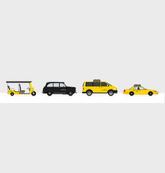 set world taxi cars and vehicles with yellow vector image