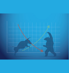 silhouette bull and bear with financial graph vector image