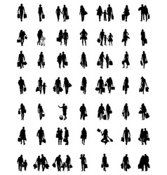silhouettes families at walking vector image