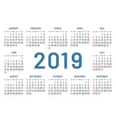 Simple pocket calendar 2019 center year flat vector