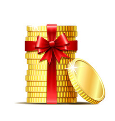 Stack of coins with red ribbon and gift bow vector