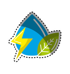 Sticker drop of water with energy sign and leaf vector