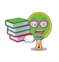 Student with book ping pong racket mascot cartoon vector