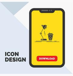 studio design coffee lamp flash glyph icon in vector image