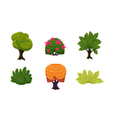 summer plants set cute cartoon fantasy bushes and vector image
