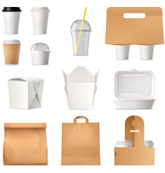 Takeout fast food package realistic set vector