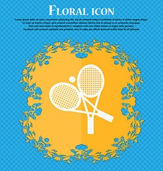 Tennis icon Floral flat design on a blue abstract vector
