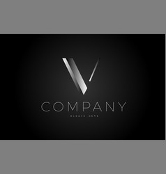V black white silver letter logo design icon vector