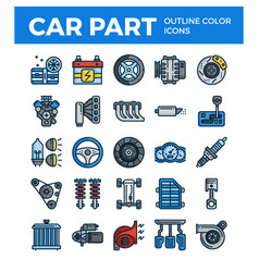 Vehicle and car parts outline color icons pixel vector