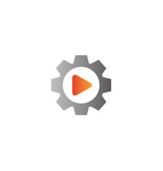 video play icon inside a gear pinion for logo vector image