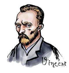 Vincent van gogh watercolor portrait vector