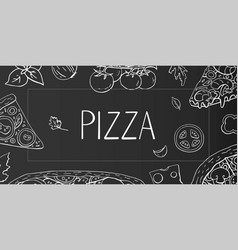 vintage horizontal banner with italian pizza vector image